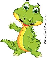 krokodil, posierend, karikatur