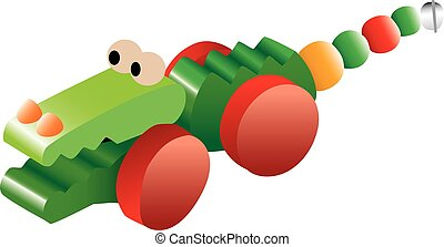 krokodil, speelbal, illustratie
