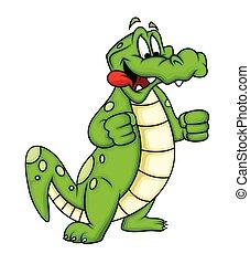 krokodil, spotprent, gulzig