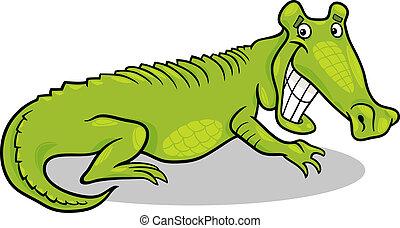 krokodil, spotprent, illustratie