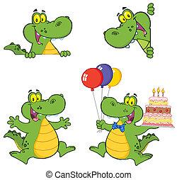 krokodil, spotprent, karakters