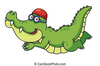 krokodil, spotprent