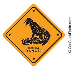 krokodil, veszély cégtábla
