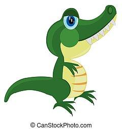 krokodil, weißes, karikatur