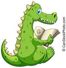 krokodil, witte , boek, lezende , achtergrond