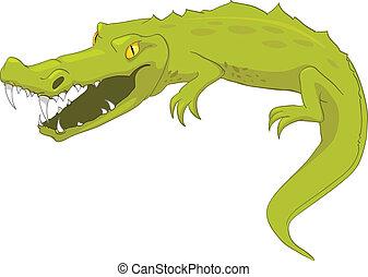 krokodil, zeichen, karikatur
