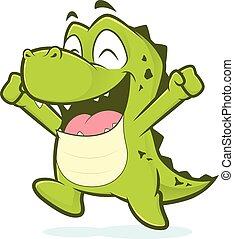 krokodille, springe, glade
