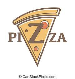 kromka, emblemat, restauracja, trójkątny, ilustracja, promocyjny, pizza