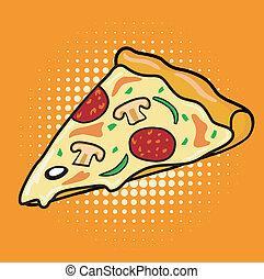 kromka, sztuka, hukiem, pizza