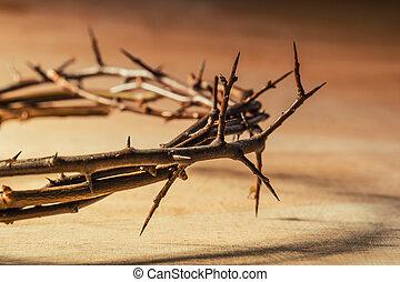 krona, av, thorns., kristen, begrepp, av, suffering.
