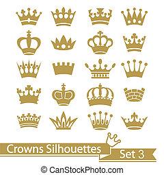 krona, kollektion, -, vektor, silhuett