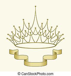 krona, med, baner