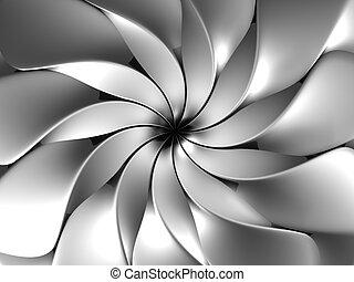 kronblad, abstrakt, blomma, silver