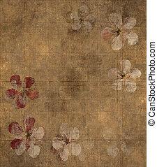 kronblad, grungy, bakgrund, pergament