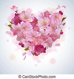 kronblad, hjärta, vektor, bakgrund, körsbär