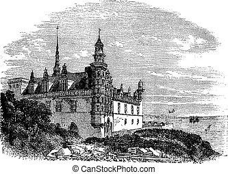 Kronborg Castle in Helsingor, Denmark, vintage engraving -...