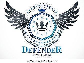 krone, emblem, gebrauchend, geschaffen, mantel, ritterwappen, kranz, fünfeckig, arme, vektor, sternen, weinlese, lorbeer, monarch