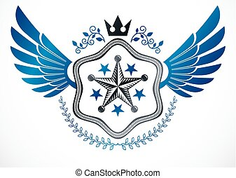 krone, gebrauchend, geschaffen, geflügelt, mantel, ritterwappen, kranz, emblem, arme, fünfeckig, vektor, sternen, lorbeer, monarch, nobel