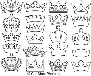 krone, linie, (set), schlanke, sammlung