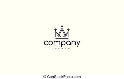 krone, logo, linear, bild, style., vektor, abstrakt