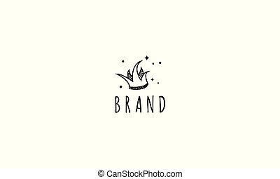 krone, logo, verspielt, bild, style., vektor, abstrakt