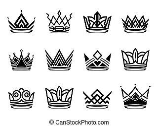 krone, modern, silhouette, symbole, vektor, sammlung, satz, logo