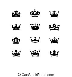 krone, sammlung, -, vektor, silhouette