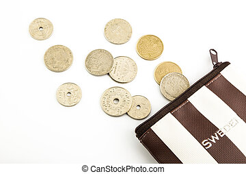 krone sweden coins and purse