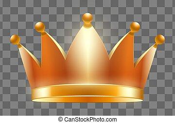 krone, vektor, abbildung, königlich, gold
