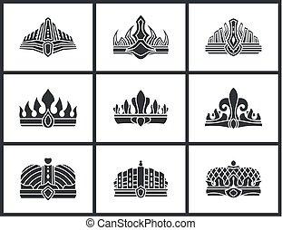 krone, vektor, silhouette, sammlung, abbildung