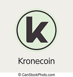 Kronecoin Cryptographic Currency. Vector KRONE Coin Image...
