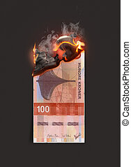 Kroner Note Burning - A concept image showing a half burnt ...