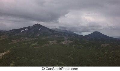 Kronotsky Nature Reserve on Kamchatka Peninsula. View from helicopter stock footage video