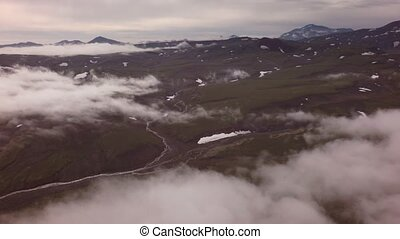 Kronotsky Nature Reserve on Kamchatka Peninsula. View from the helicopter stock footage video