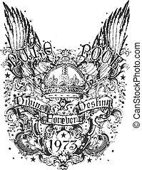kroon, en, vleugel, van een stam, illustratie