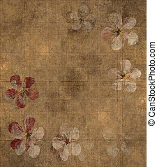 kroonblad, grungy, achtergrond, perkament