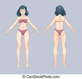 krop, beliggende, kvinde, pose., tilbage, illustration, style., vektor, kvindelig, forside, cartoon, eller