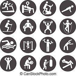krop bygge, oplæring, workout, folk, atletisk, gymnastiksal, pictogram, gymnastiksal, tegn, sunde, mand, symbol, udøvelse, ikon