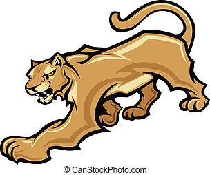 krop, cougar, grafik, vektor, mascot