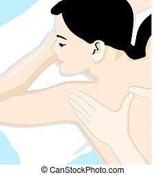 krop, fulde, massage
