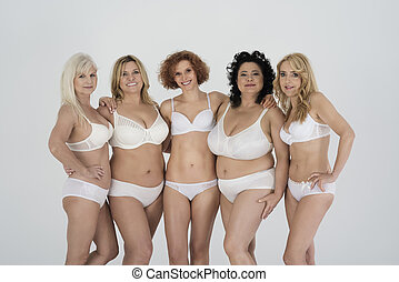 krop, gruppe, naturlig, kvinde