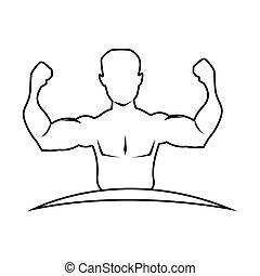 krop, halve, muskel, silhuet, mand