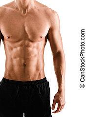 krop, idrætsmanden, nøgne, muskuløse, halve, sexet
