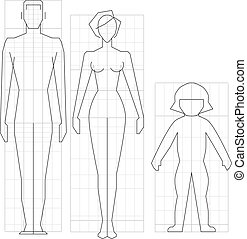 krop kvinde, vektor, strømkreds, barn, mand, affattelseen, illustration.