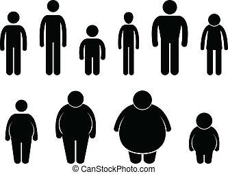 krop, mand størrelse, figur, ikon
