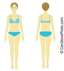 krop, model, kvinde