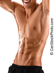 krop, nøgne, mand, muskuløse, halve