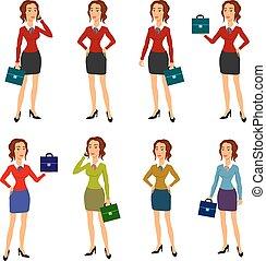 krop smukke, forskellige, brunette, businesswoman, tre, illustration, gestuser, poser, indgåelse, glas