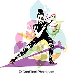 krop, trained, abstrakt, kvindelig, duelighed, kvinde