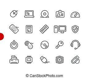 //, kropka, seria, ikony, urządzenia, komputer, czerwony